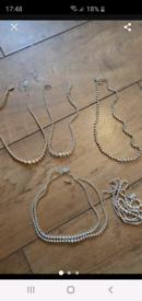 Joblot vintage silver pearl necklaces