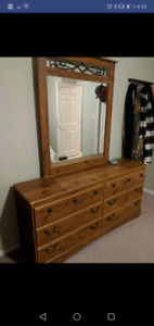 Dresser, queen bedframe & nightstand
