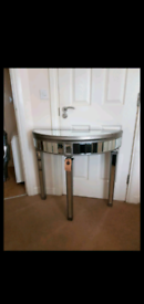 Fabulous Silver Mirrored Half Moon Side Table Brand New