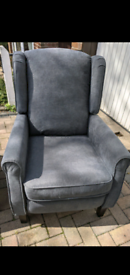 Grey recliner wingback chair
