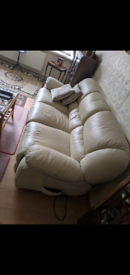 Italian leather recliner sofa and armchair