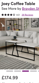 Brand new boxed joey coffee tables in white retail £174 at wayfair