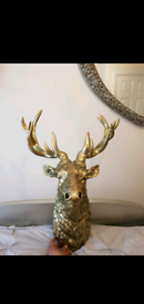 Fabulous Large Gold Wall Stags Head Brand New