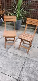 2 x wooden folding garden chairs