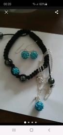 Silver necklace bracelet earrings set