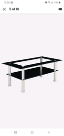 Black and chrome coffee table and side table