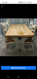 Large Dutch oak table with 6 chairs