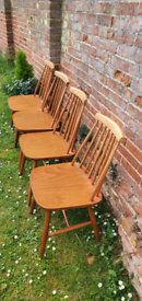 4 x Ercol Style Dining Chairs Mid Century MCM Retro vintage