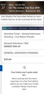U2 Perth Concert GA Standing Ticket