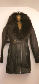 Girls Black Leather look coat with detatchable fur collars age 11-12 y