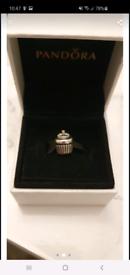 Pandora cupcake charm silver and 14k gold