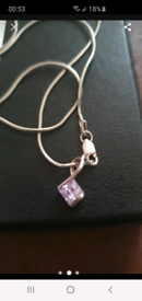 Silver amythest necklace for sale