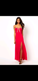 Lipsy VIP Maxi Dress, Pink, Diamante, side split, Size 14
