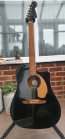 Fender acoustic guitar black redondo with fender stand