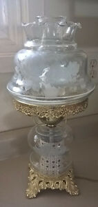 Vintage White Roses on Clear Glass Hurricane Shade Parlor Lamp