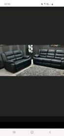 3 and 2 setters black leather recliner