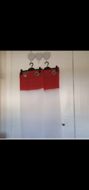 Red and white eyelet voile curtains