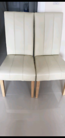 6 Cream Coloured Dining Chairs