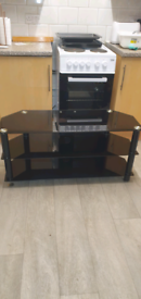 Black glass wide t.v stand
