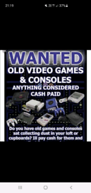Wanted- video game consoles and collections. Cash paid