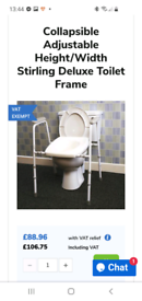 Brand new boxed adjustable toilet frame retails £106