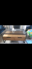 Oak effect coffee table and TV stand