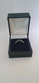 Sapphire and diamond white gold ring, size P