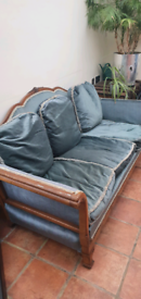 Edwardian (?) Wooden sofa, chenille blue/green antique/vintage sofa
