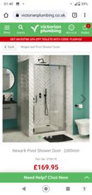 Shower Door/enclosure Chrome 1000mm Brand New Boxed