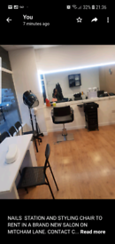 HAIR STYLIST CHAIR/NAIL TECH STATION TO RENT IN STRATHAM