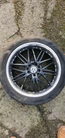 """17"""" Alloy Wheels Black & Chrome x4 + Mohawk Tyres VW Caddy"""