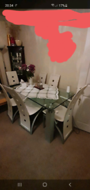 Dining Glas table with 6 chairs