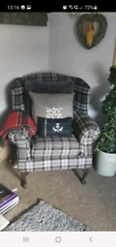 Grey check wingback armchair