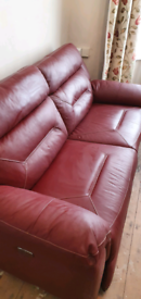 SCS 3 seater leather electric recliners