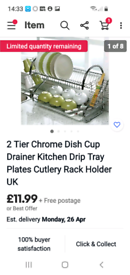 Cup plates forks cutlery stainless Steel 2tier with drainage tray
