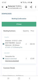 2 x tickets for Printworks Redacted Sunday 19th sept