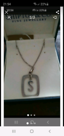 Silver S boxed necklace