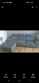 Grey faux suede 3 seater couch with chaise