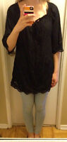 Guess black peasant top with sash