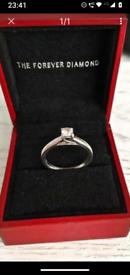 LOVELY H SAMUEL 9CT WHITE GOLD .25CT DIAMOND ENGAGEMENT RING COMPLETE