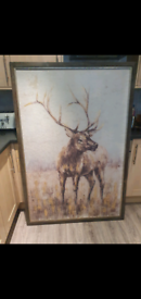 Fabulous Xlarge Wooden Painting Of Stag Brand New