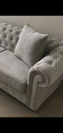 CHESTERFIELD light grey 3 seater 2 seater plus footstool