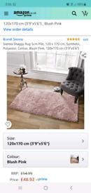 blush pink shaggy rug brand new