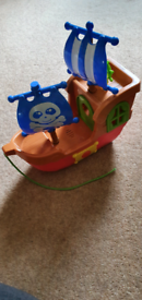 Pirate ship pull along toy on wheels. Lights music sounds