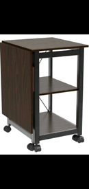 Folding Computer Desk Office with Storage Shelves & Wheels