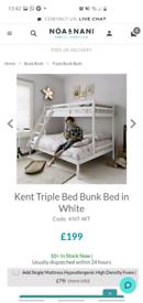 Noa and Nani Kent Triple Bunk Bed Frame