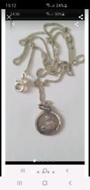 Vintage silver medal pendant necklace