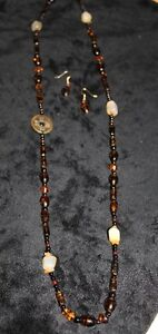 Trendy Glass Beaded Necklace and Earings
