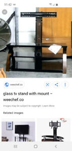 Glass tv stant with mount for tv