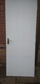 Internal fire door, white.